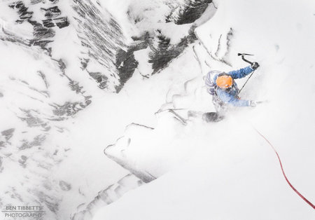Pam van der Brug battling the maelstrom on Spiral Gulley Direct, Coire an t-Sneachda, 25 kb