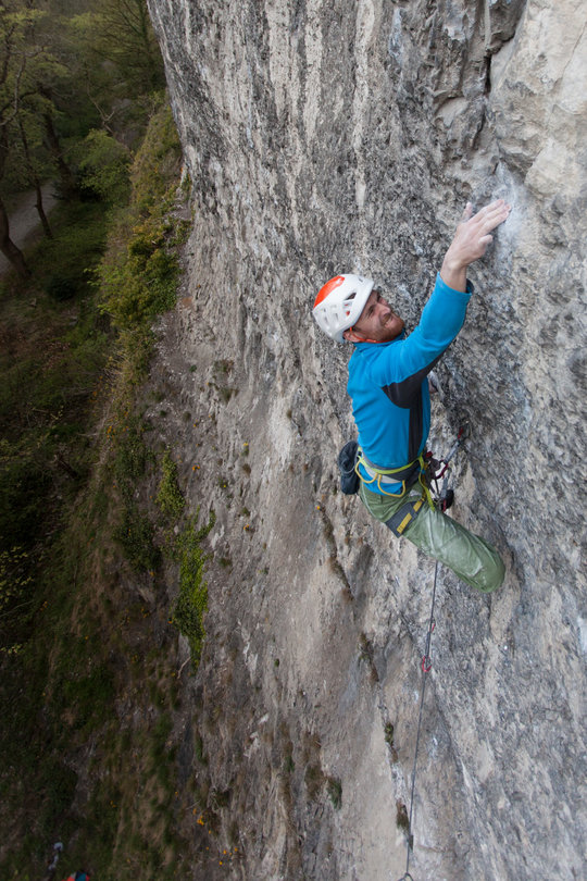 The Sirocco protecting the author's head at Garage Buttress, a crag held together by bolts and glue, 158 kb