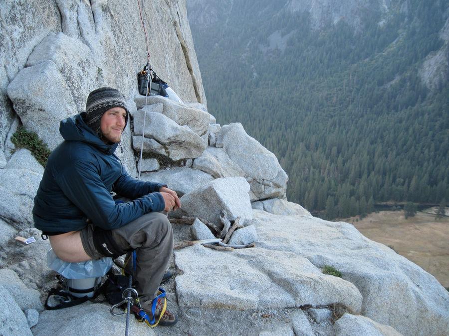 Alex Haslehurst contemplating life on a big wall, 155 kb