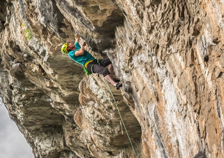 Alan James sport climbing in the CT Orion helmet in Finale Ligure, Italy, 220 kb