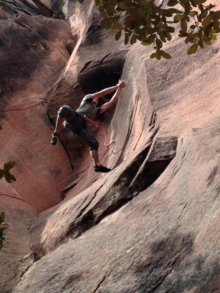"""Henry leaping for the arête on """"Eagle"""", 117 kb"""