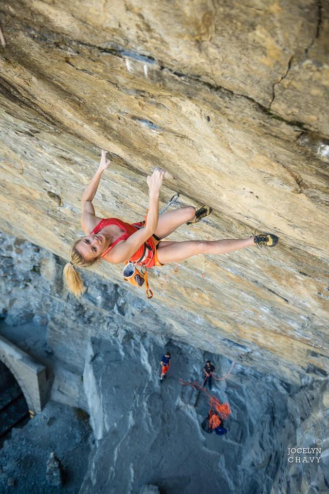 Julia Chanourdie on Ground zero, 9a, Tetto di Sarre, Italy, 97 kb