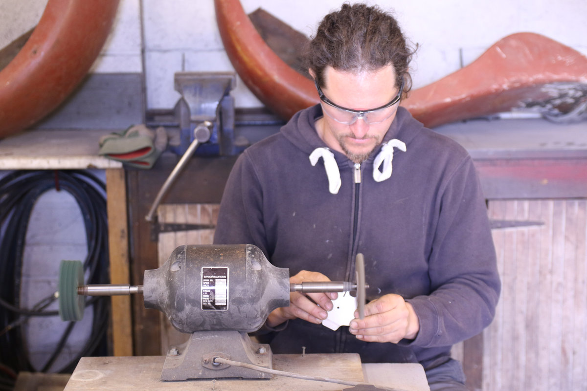 Photo: founder of Pongoose, Rob Rendall, in the workshop making the heads for the Pongoose Climber 700
