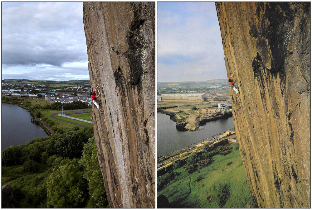 A fascinating recreation of David Jones' iconic shot of Cubby, 30+ years apart. Notice the changing landscape of Dumbarton., 186 kb