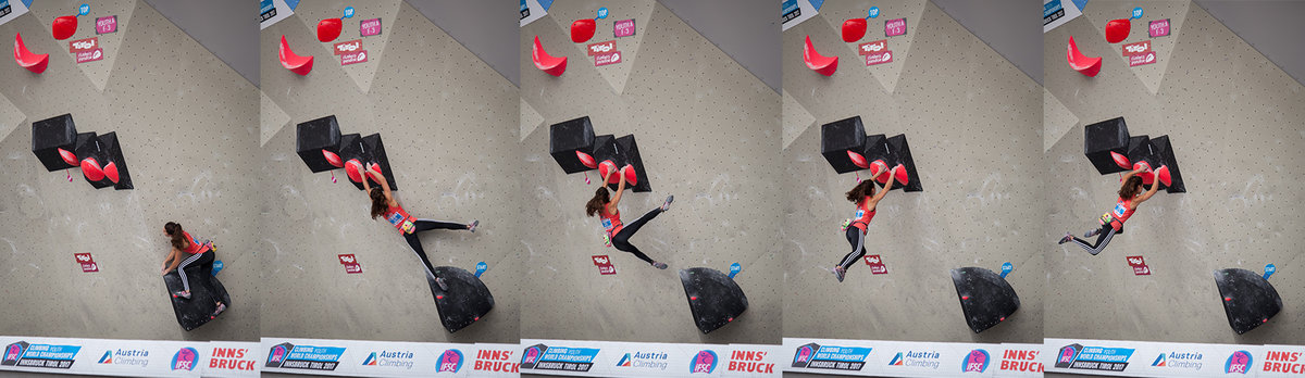 Brooke Raboutou leaping around the corner of Problem 3 in Youth A, 116 kb