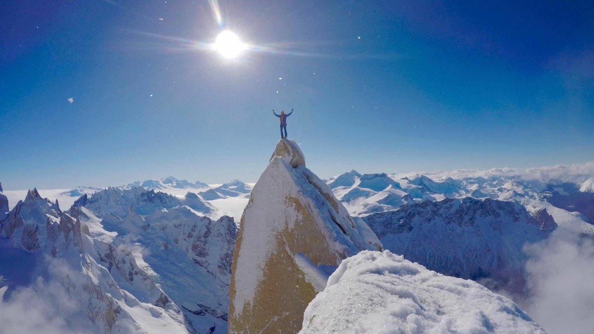 Markus summits Aguja Guillaumet, surrounded by a Patagonian winter wonderland, 109 kb