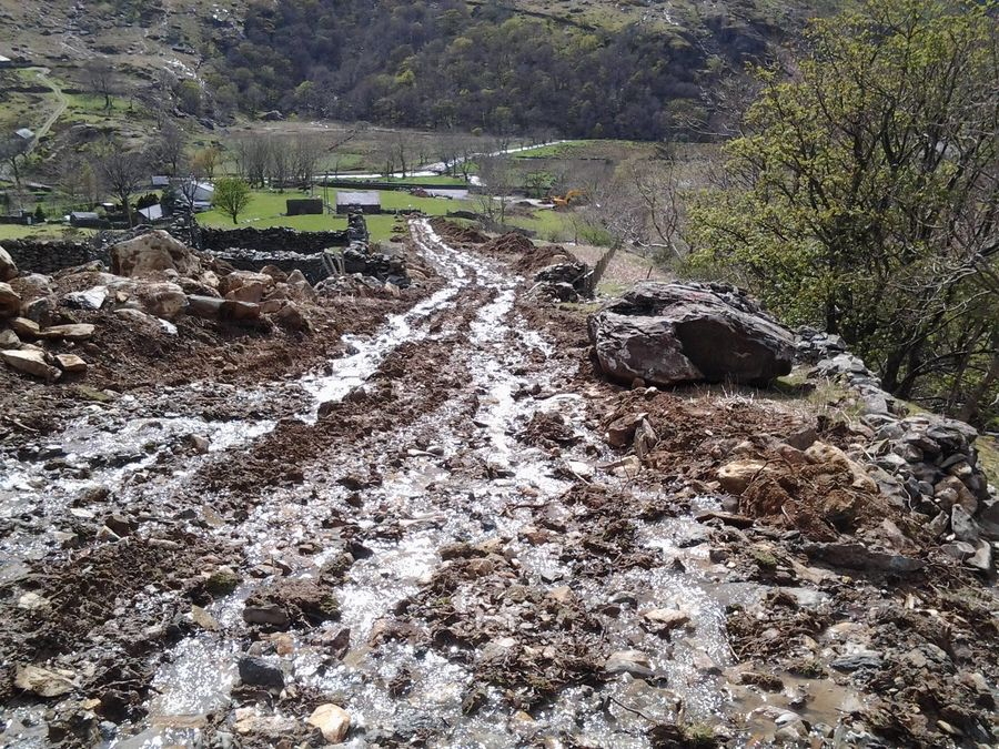 Micro Hydro constructions site damage above Nant Peris., 217 kb