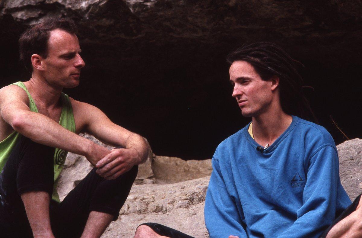 Zippy and Ben Moon enjoy a post-climb chat., 131 kb