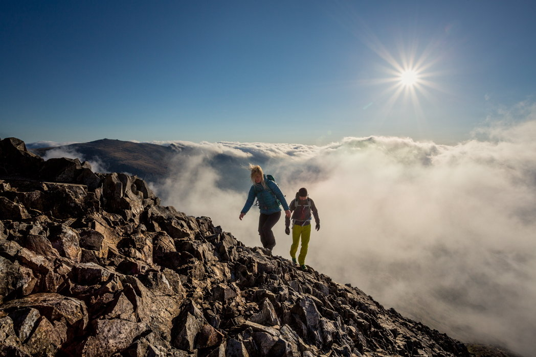 Above the clouds on Crib Goch, shot with a narrow aperture for a 'starburst' sun effect, 151 kb
