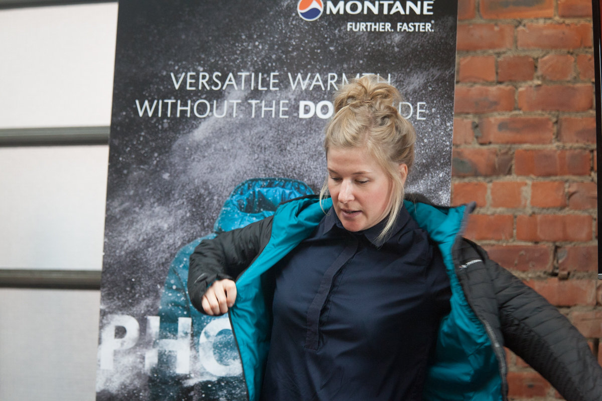 Lottie Watkinson, Product Director at Montane, talking through the jacket's tech spec, 185 kb