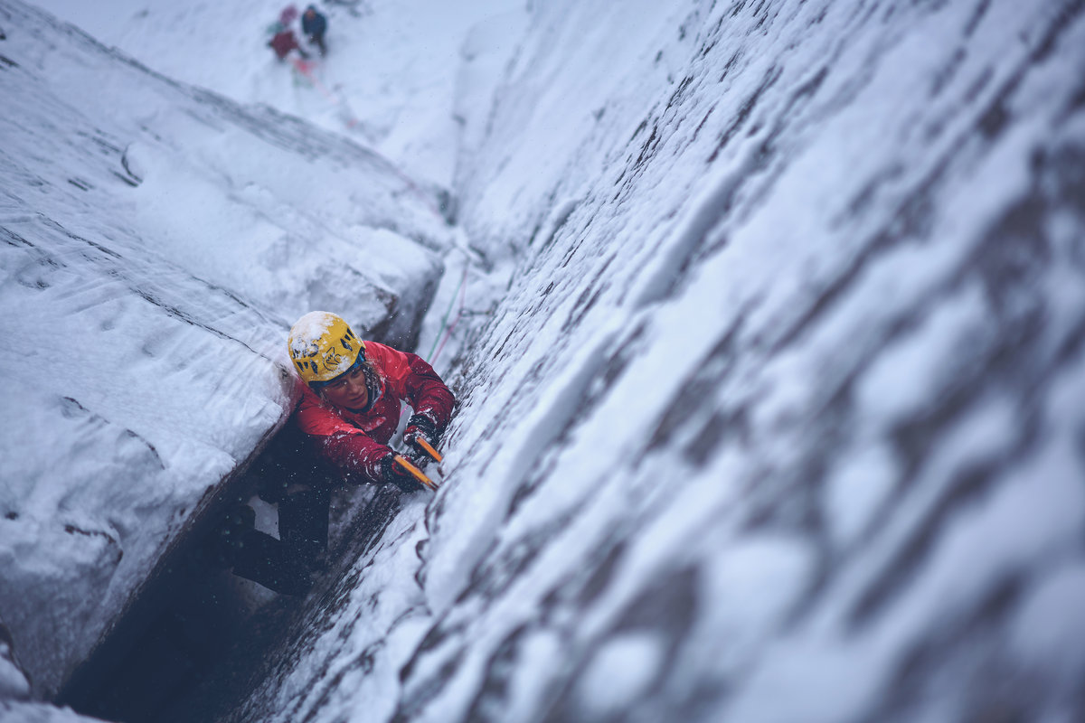 Rab athlete Angela VanWiemeersch on Savage Slit, Northern Cairngorms, 146 kb