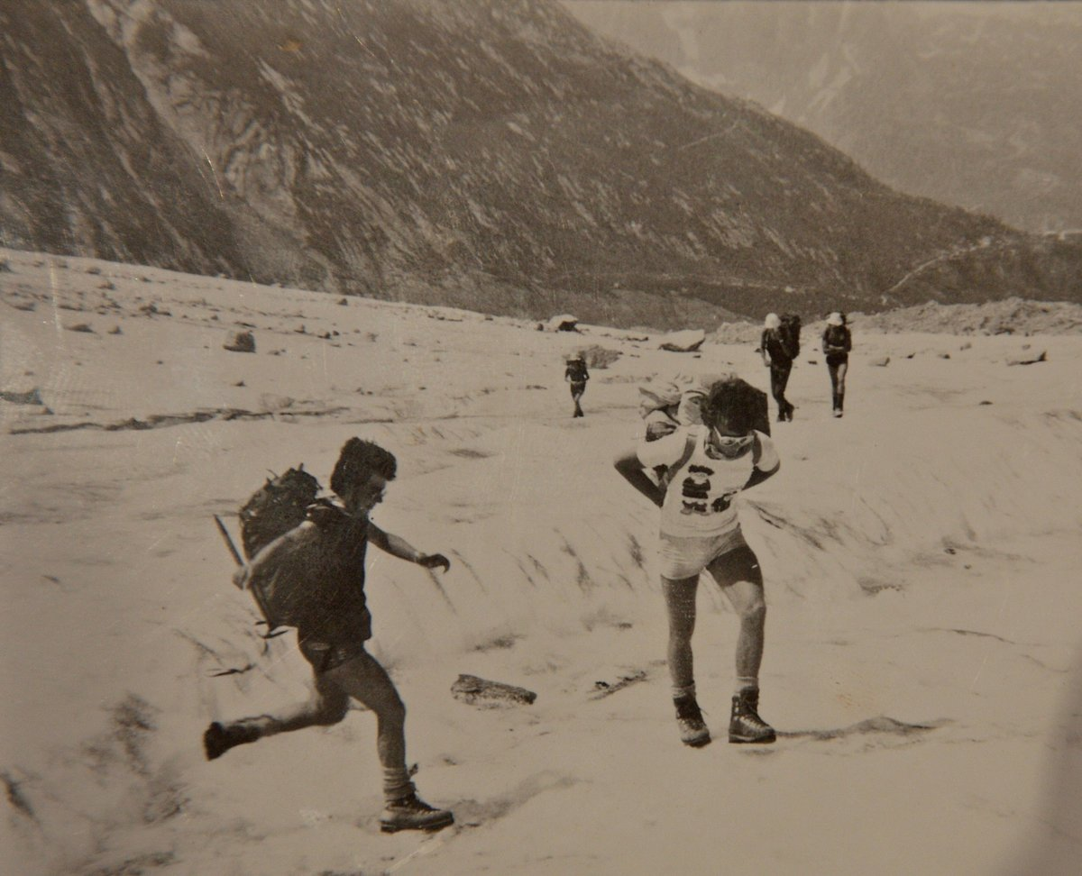 Ed Douglas on the Mer de Glace in 1983, aged 17, en route to the Couvercle hut. (He's the one in the Dennis the Menace t-shirt), 146 kb