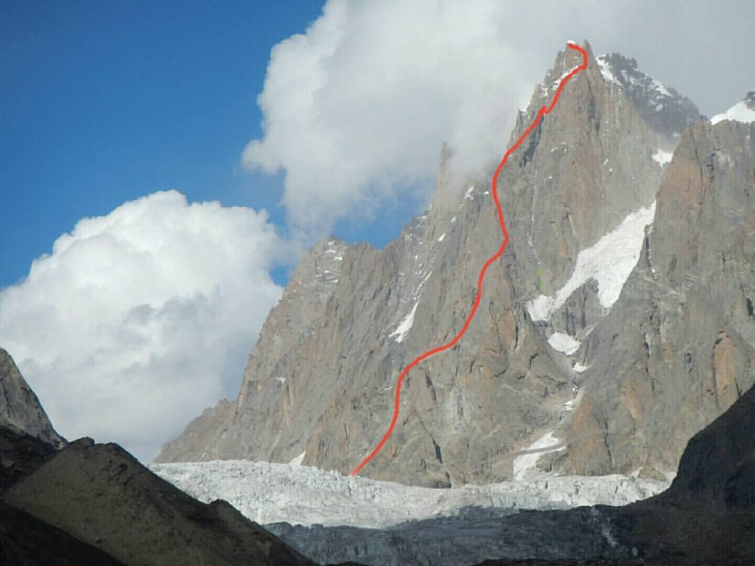 The line of the team's new route on Arjuna's South West Pillar, 68 kb