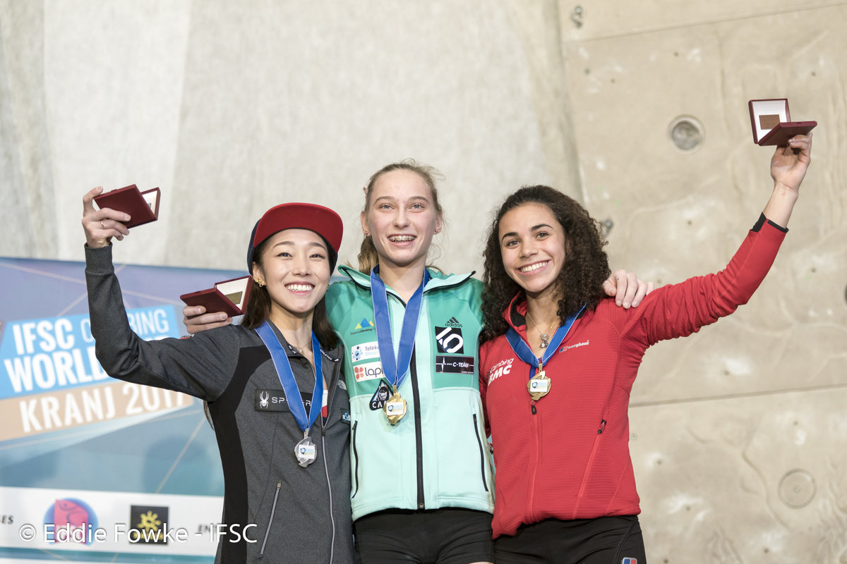 Women's podium: Kim, Garnbret and Thompson-Smith., 156 kb