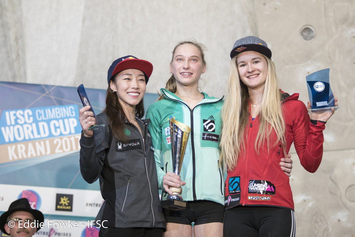 Women's combined: Kim, Garnbret and Coxsey., 173 kb