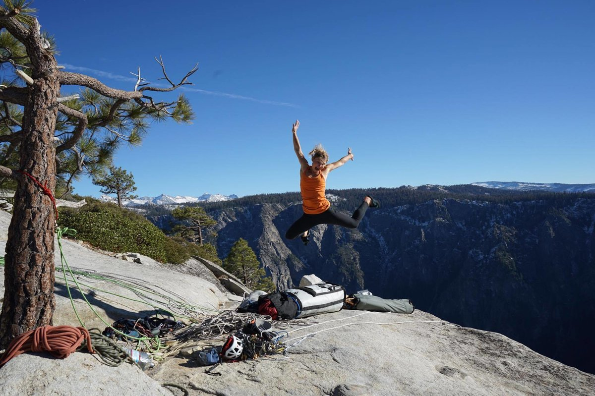 An elated Hazel at the top of El Cap after 8 days of effort on the Salathé., 192 kb