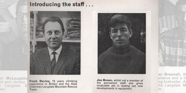 Early collaboration, Frank Davies, founder of The Climbers Shop, and Joe Brown. Taken from The Climbers Shop brochure produced , 34 kb