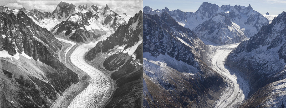 Mer de Glace comparison: 1909 and 2017., 196 kb
